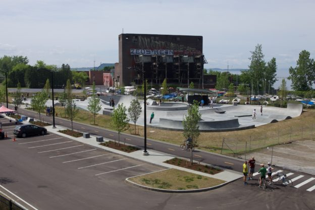 "The Andy ""A-Dog"" Skatepark stands on the shores of Lake Champlain in downtown Burlington, VT. Photo: Jody Morris"