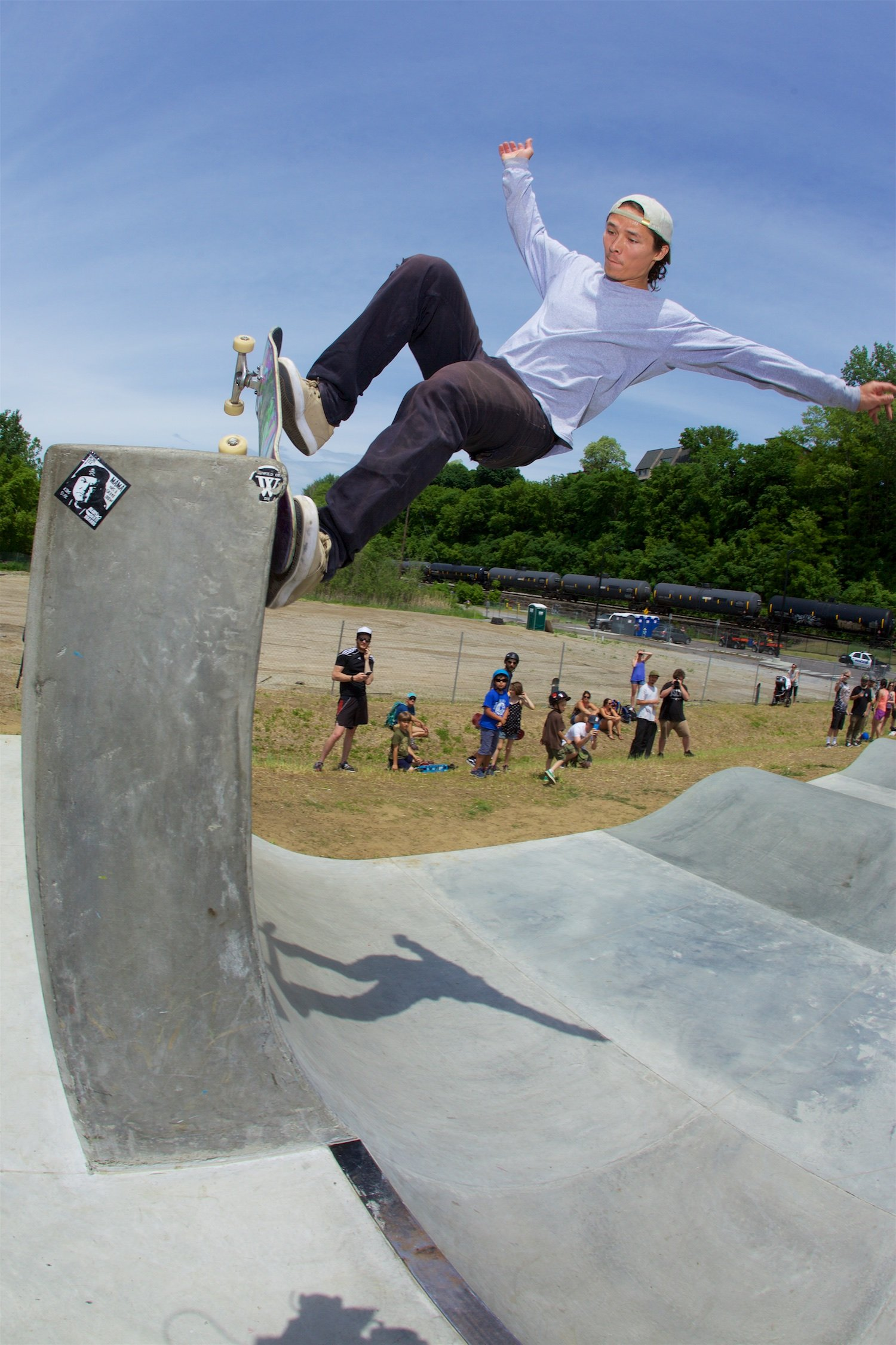 Tony Hawk thanks Burlington for building such a great skatepark. Photo: Jody Morris