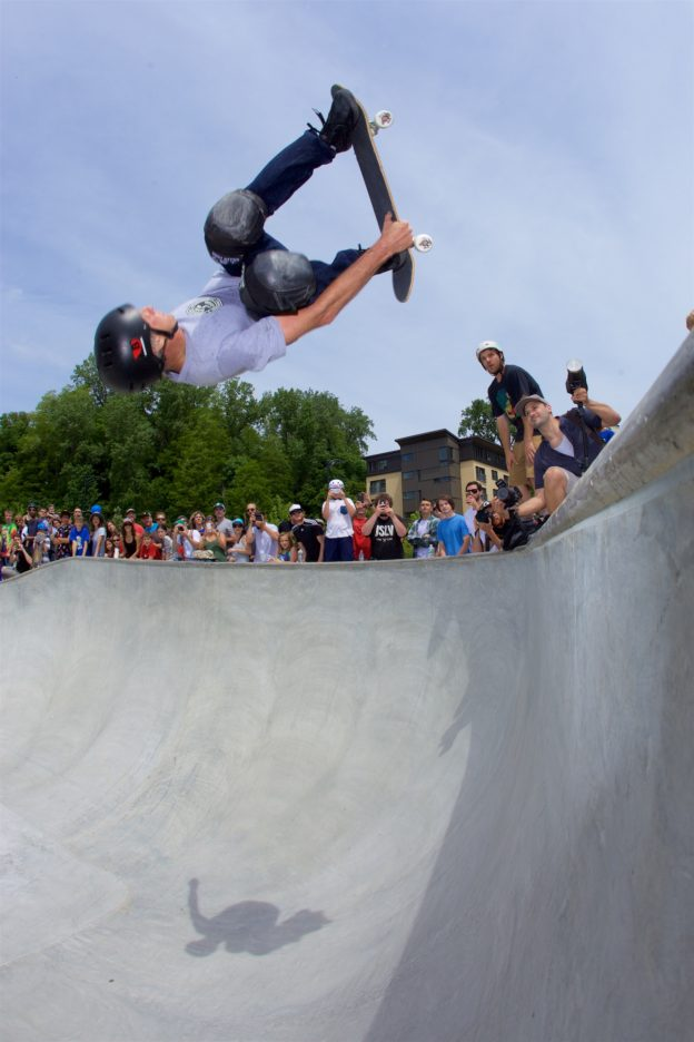 Tony Hawk spins a 540 at the A-Dog Skatepark in Burlington, VT. Photo: Jody Morris