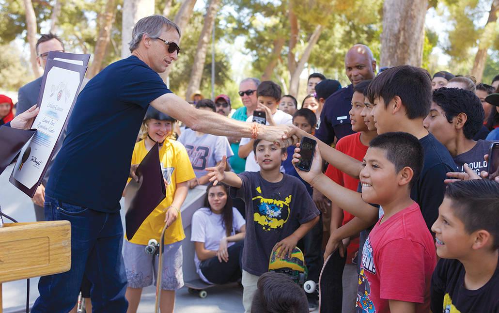 Tony Hawk Handshake with Kids